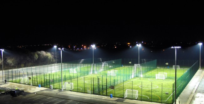 MUGA Pitch Floodlights in Rhondda Cynon Taf