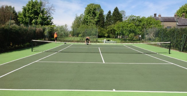 MUGA Surface Painters in Dyffryn Cellwen